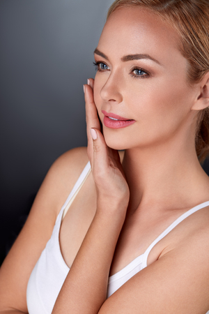 skin care woman: Woman enjoying in her perfect skin,  satisfied hers looks