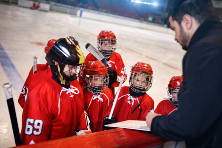 Formation game plan tactics in hockey matches Banque d'images