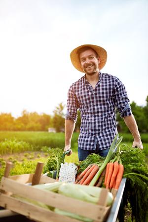 carretilla: Joven agricultor alegre con carretilla con verduras en el jardín Foto de archivo