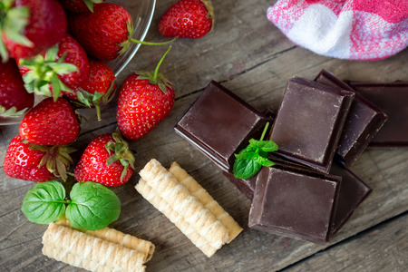Chocolate with mint and fresh strawberry