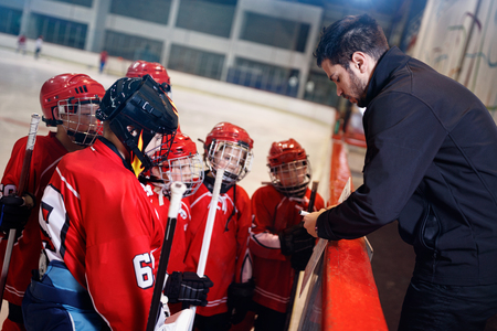 tactics coach in game hockey in ice matches Stock Photo - 76348633