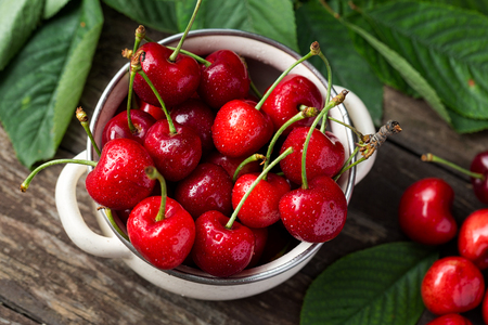 bowl with red cherries, freshly picked cherries concept Stock Photo