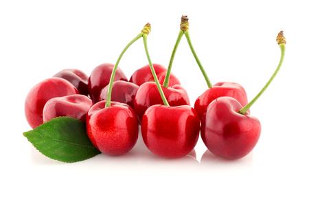 juicy organic cherry isolated on white background