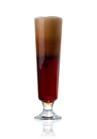 real ale: elegant glass of cold dark beer with foam isolated on white background