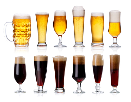real ale: set of mugs and glasses with light and dark beer isolated on white background Stock Photo