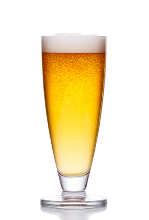cold light beer with foam on white background Фото со стока