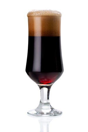 glass of red beer foam. lager beer in a glass beaker with fresh bubbling foam isolate on white