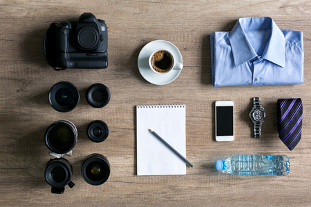 photographer preparation concept shooting background. Stock Photo
