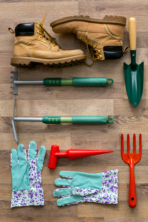 top view garden tools background
