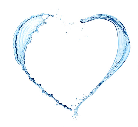 Heart made of water on white background