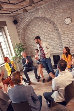 group therapy meeting- business people diverse discussion  Stock Photo