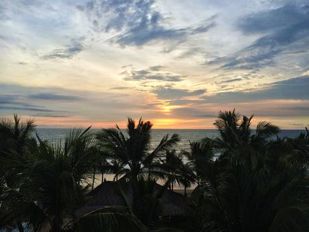 야자수와 열 대 해변에서 석양 스톡 콘텐츠