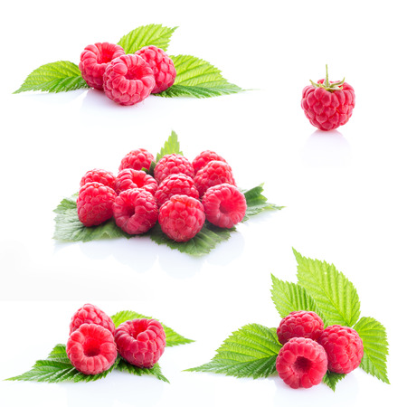 collage fresh raspberry isolated on white background Stock Photo