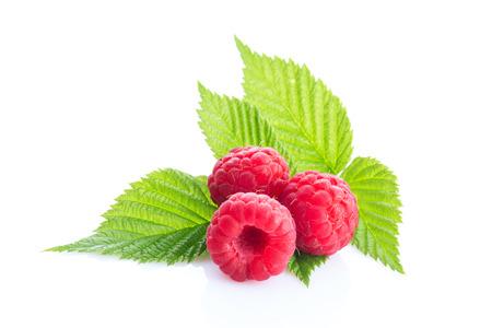 ripe raspberry isolated on white background