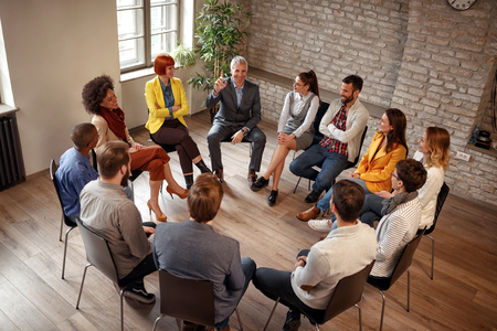 Business people corporate communication meeting office concept Stock Photo