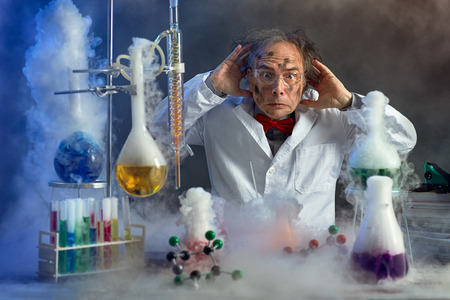 frightened scientist front of experiment that exploded in lab