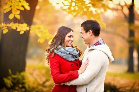 Young couple in love in autumn