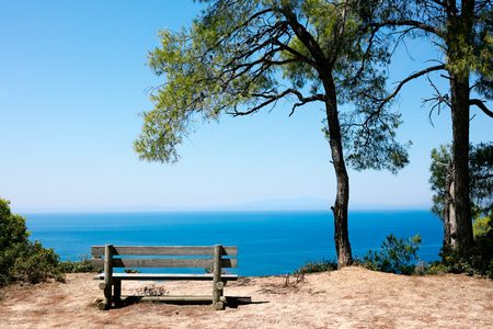 Sea view from bench at summer