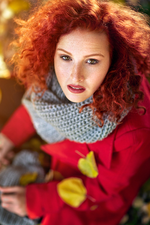 Young red hair female outdoor Stock Photo