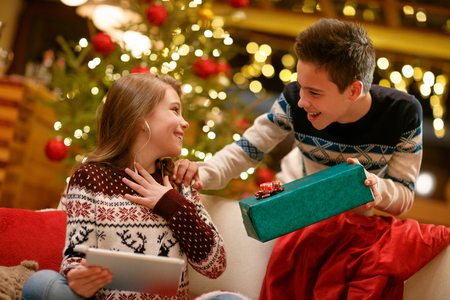 Excited cheerful sister receiving Christmas gift from her brother