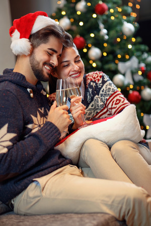 happy love couple toast for happy Christmas holiday Banque d'images