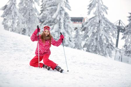 Skiing, winter, ski holiday - skiers on mountainside, portrait of happy female skiers Zdjęcie Seryjne