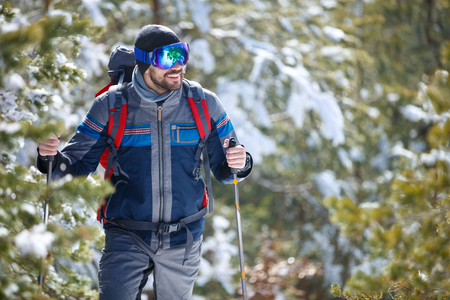 Male hiker in action in forest with hiking poles