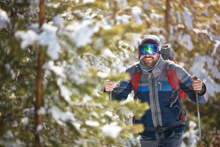 Close up of  male hiker in forest