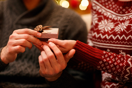 romantic suprise gift for Christmas close up