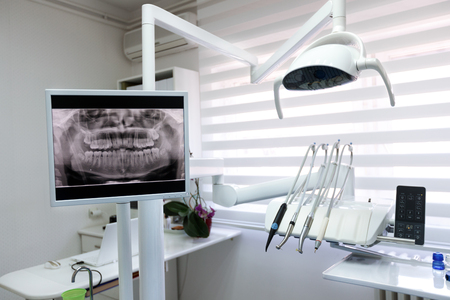 X-ray footage of patient's teeth and apparatus in dental ambulance