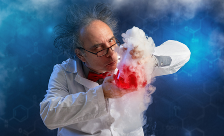 Wacky chemist with experiment sense of smell evaluates chemicals