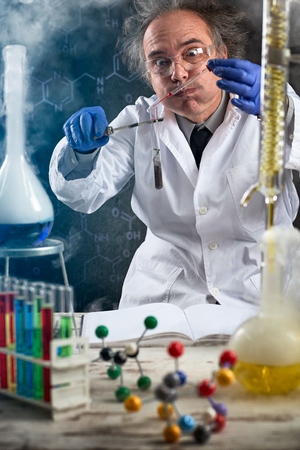 chemist doing chemical experiment on genetically modified food
