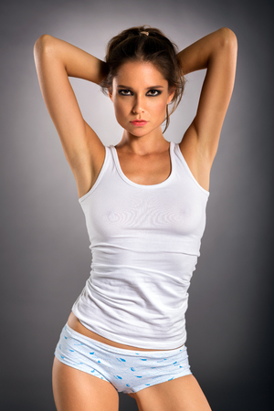 Young sensual  woman in comfort underwear Banque d'images