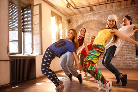 Urban dancers group dancing