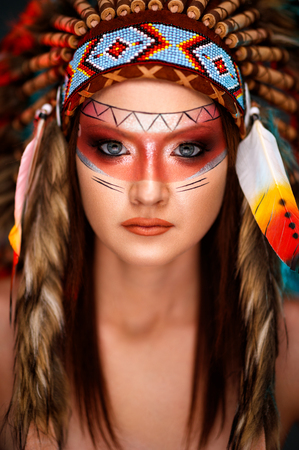 Native Indian American headdress and face paint