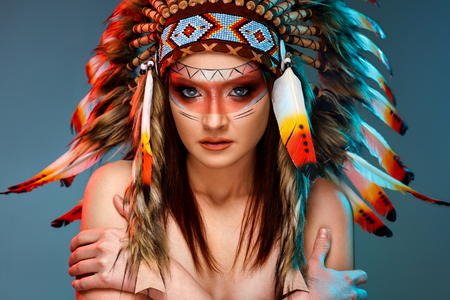 Beautiful Indian American female with headdress