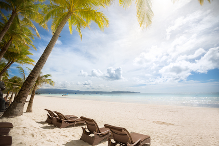 empty sunbeds on a beautiful beach Stock Photo