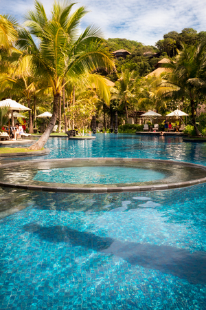 Swimming pool of a luxury tropical Philippine resort, hotel Stock Photo