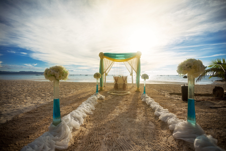 arrangement for wedding ceremony on the beach