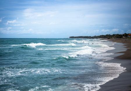 White wave ripple to beach, surfer beach Stock Photo