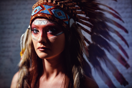 Indian American female with headdress