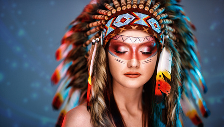 Young Indian woman with headdress and beautiful make up Stock Photo