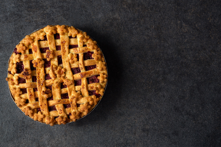traditional dessert pie cherry with copy space