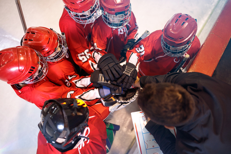 Hockey team together strong teamwork spirit concept