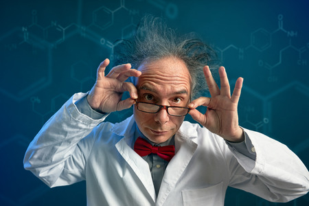 Crazy chemist with glasses