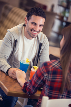 Man In love on romantic date in cafe
