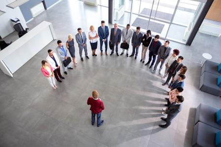 Director hold  meeting, semicircle concept Standard-Bild - 112072723