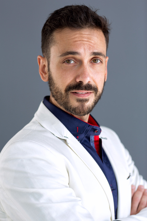 Portrait of elegant  male man with short beard and mustache Stock Photo