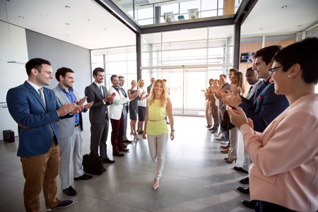 applauding to smile confident leader happy employer