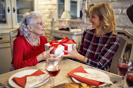 Smiling daughter and senior mother m together celebrate Christmas at home